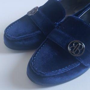 Bandolino Velvet Loafer Shoes Royal Blue NEW